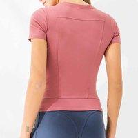 Camisas de secado rápido de las mujeres Elástico Yoga Deportes T Shirts Medias Gimnasio Corriente de manga corta Camisetas Blusas Jerseys Show fino y sexy