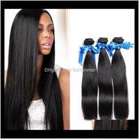 Bulks Products Drop Delivery 2021 Zhifan Sintetic Weft Reino Unido EUA pacotes de cabelo em linha reta 1b preto cabelo natural extensões tecidas 14inch 8pdvb