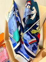 Sciarpe di lusso Bella marca Designer di marca Imitazione silenziatore di seta 90 * 90 cm Sciarpe lunghe e scialli avvolgenti Pashmina Ladyscarf Seculo femminile con scollo a sciarpa con collo sciarpa