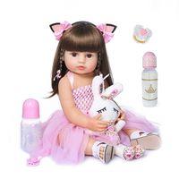 55см NPK кукла Reborn Toddler девушка розовая принцесса батай игрушка очень мягкий полный тело силикона 210903