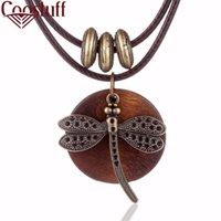 yutong moda gargantilla mujer collares joyería vintage libélula colgante de madera collar largo para las mujeres collares mujer kolye