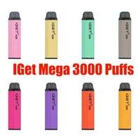ORIGINAL IGET MEGA descartável E-Cigarros Pod Review Cigarette 3000 Puffs CartridGevape Stick Pen vs Shion King Plus XXL 100% Authentic
