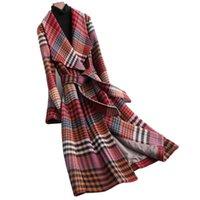 Women's Wool & Blends High-end Women Plaid Woolen Coat Jacket 2021 Autumn Winter Temperament Slim Long Overcoat Plus Size 4XL With Belt Fema