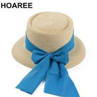 Largo Brim Hats Hoaree Verão para Mulheres Sol bege com Rabão Azul Proteção UV Beach Boater Pokepie Fedora