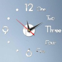 Letter Number DIY Digital Wall Clock 3D Mirror Surface Stick...