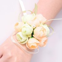 50pcs set Wedding Wrist Flower Bridal Prom Hand Simulation Flowers Bracelet Bridesmaid Sisters Wrist Corsage Decorative Flower BH2466 TQQ