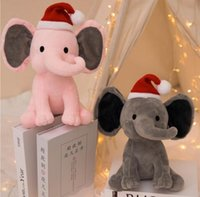 2 ألوان الاطفال الفيل بلوحة اللعب مع عيد الميلاد قبعة لينة وسادة محشوة الكرتون الحيوانات لينة دمى اللعب الاطفال النوم وسادة عودة الأطفال هدية عيد 496