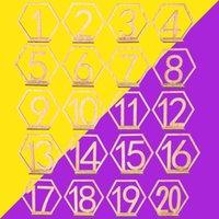 20шт шестиугольник 1-20 деревянные номера столов с держателем базы для свадебных украшений