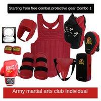 Conjunto completo de sanda de equipo de protección para adultos niños artes marciales club lucha de lucha de boxeo equipo de entrenamiento de combate real juego de codo rodilla almohadillas