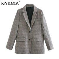 KPYTOMOA Kadınlar 2021 Moda Cepler Ile Houndstooth Blazer Ceket Vintage Uzun Kollu Sırt Genginler Kadın Giyim Veste Femme