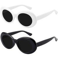 2021 Mode Oval Sonnenbrille Frauen Männer Marke Designer Vintage Farbverläufe Farbe Linsenrahmen Nette Stil Sonnenbrille UV400