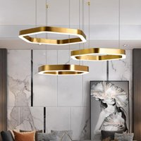 Chandeliers YOOGEE Modern LED Gold Chandelier For Living Room Ring Hang Lamps Home Decor Stainless Steel Interior Indoor Lighting Fixture