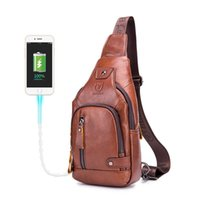 Bullcaptain الرجال الجلود الصدر جيب حقيبة شنقا مع حقيبة الصدر المحملة USB يمكن استخدامها لمدة 7،9 بوصة أكياس IPAI