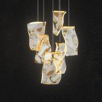 الثريات الحديثة الإبداعية الصمام الثريا الإضاءة دوبلكس دوامة درج دليل ضوء غرفة المعيشة الديكور مصابيح قابل للتعديل