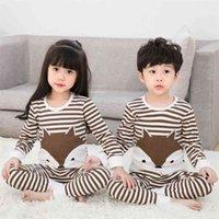 TUONXYE Boys Girls Pajamas Set Children Cute Pajamas Cotton Kids Long Sleeve Pyjamas Child Pijama Baby Sleepwear Clothing 210923