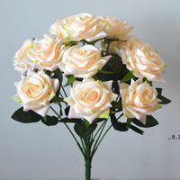 New12 Heads Artificial Rose Flowers Bouquet Seda Rosas para el hogar Bridal Body Fiesta Festival Decor Champagne y Pink EWA4357