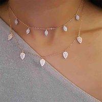 Lüks 925 Ayar Gümüş Düğün Sevgililer Günü Hediye Kıvılcım Gözyaşı Drop Charm Moda Kadınlar Sevimli Kız Parlak CZ Kolye Gerdanlık 210616