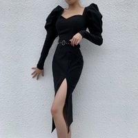Cocktail party mini dress 2021 spring retro belt waist-length slim black design sense fork skirt