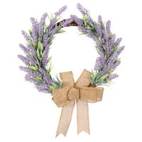 Artificial Garland Bowknot Rattan Simulation Lavender Garlands Hanging Ornament Wreaths Wall Home Decoration Decorative Flowers &