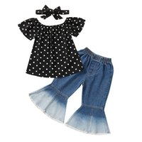 kids Clothing Sets girls Dots outfits children Polka Dot Tops+denim Flared pants 2pcs sets summer Korean version fashion Boutique baby Clothes Z3075
