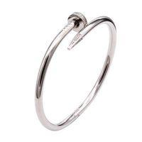 С красной пылью сумка золотой серебряный титановый сталь браслет для ногтей вкладки алмаз винт ногтей браслет женщины мужчины любят пару браслет подарочные украшения