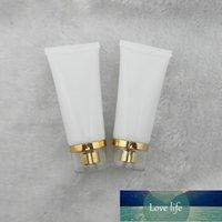 Şişeler 50 ml lot beyaz pe plastik tüp altın akrilik vidalı kapaklı, krem emülsiyon losyonu, yumuşak ambalaj boş