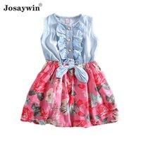 Kız Elbiseler Yaz Denim Elbise Kızlar Için Çiçek Kolsuz Vestidos Parti Rahat Çocuklar Genç Çocuk Giysileri