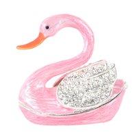 Emalia Home Creative Crafts Swan Box Pink Decoration Diamond Gift Jewelry Storage Metal Aajsl