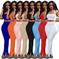 Femme Color Color Color Couleur De Style Poitrine Split Pantalon Split Jambes Deux Pièces Ensembles 2021 Concepteur Fashion Loisirs Slim Sling Pantalons