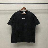 Prawdziwy strzał 21ss Koszulka Vintage List Drukuj High Street Krótki Rękaw Miłośnicy Hip Hop Crew Neck Loose Black S-XL