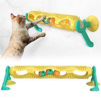 Ventosa tazza pet cat teaser divertente pista palla giocattolo interattivo con catnip leggero massaggio playing tubo gioco giocattoli giocattoli gattino prodotto