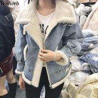 WOHERB 2020 Kış Kalın Pamuk Denim Ceket Kadınlar Sıcak Kore Vintage Ceket Kot Ceketler Kadın Gevşek Giyim Chaqueta Mujer1