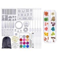 Ear Muffs DIY Crystal Glue Jewelry Set,Epoxy Craft Making Kit,Silicone Casting Molds Tools Set,Bangle Pendant Si