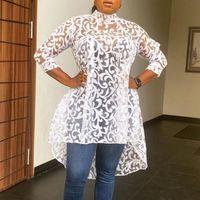 Weiße spitze lange bluse sexy see-see-top 2021 mode afrikanisches kurzes dress frauen sommer fall office dame wear plus größe 3xl frauen blusen