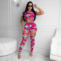 plus size clothing 2 Two Piece Outfits sets sexy hollow out crop top skinny pants tracksuits casual suit nightclub Women Hole camouflage