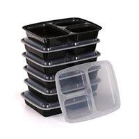 Louça de jantar Conjuntos 10pcs Descartáveis Refeição Prep Containers 3-Compartimento Microondas Cofre Armazenamento Bento Caixa (Preto, Com Tampa)