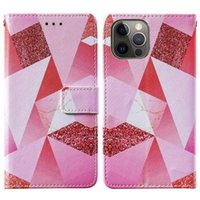 colorful printed triangle painted pu leather wallet phone cases with credit card slot flip book For iPhone 12 11 pro promax XS M
