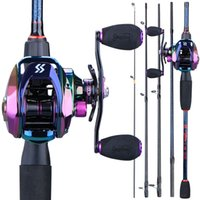Sougayilang 1.8m -2.4m Baitcsting Fishing Combo Portable 5 Section Carbon Fiber Rod and 9+1BB High Speed 6.3:1 Gear Ratio Reel