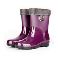 Women PVC Fur Warm Rain Boots Solid Short Tube Low Heel Female Shoes Adult Waterproof Jelly Rubber Candy Color
