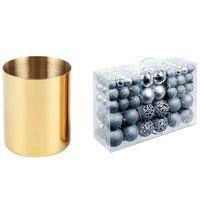 Party Decoration 1 Pcs Gold Flower Vase Pen Holder Desktop Storage Container & 100 Christmas Ball Box