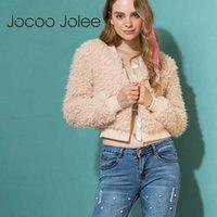 Jocoo Jolee Basic Jacket Long Sleeve Warm Hairly Casts Women Autumn Outerwear female Casual Plush Overcoat Streetwear 210619