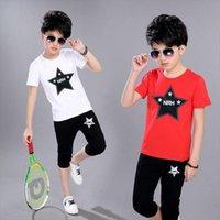 Tre colori 2 PZ Summer Kids Boy Boy Sports Suit Bambini manica corta Pantaloncini da sette pantaloni Casual Youth 5 7 9 12Y