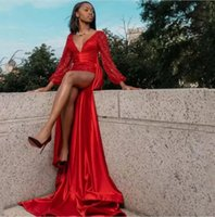 Sexy Red Mermaid Evening Dresses V Neck Long Sleeve Sweep Train Thigh-High Slits Sequined Satin Formal Prom Celebrity Dress Party Gowns vestidos de noche