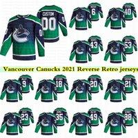 밴쿠버 Canucks 2021 Reverse Retro Jersey 40 Elias Pettersson 43 Quinn Hughes 53 Bo Horvat 6 Brock Boeser 10 파벨 빌어 베키 유니폼