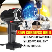 Professiona Electric Drills 800W Screwdriver Cordless Drill Rechargeable Mini Wireless 2-Speed LED Light Power Driver Tools Without Battery