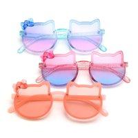 Flash pó óculos de sol crianças gatinho dos desenhos animados óculos de sol meninas óculos bonitos arco óculos de sol moda nino gafas de sol