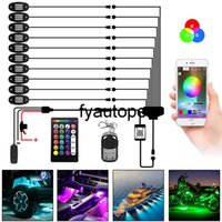 Multicolor Bluetooth App Control RGB Rock Music Lights 8 10 Pods LED Underbody Neon Atmosphere Lamps Car Accessories