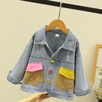 Jackets DX03502 Girls Color Pocket Denim Jacket