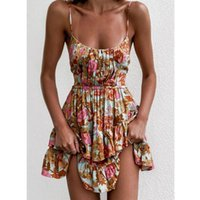 Summer Floral Beach Dress Women Printed Ruffle Mini Sundress Ladies Spaghetti Straps Backless High Waist Vestidos Party Vacation Casual Dres