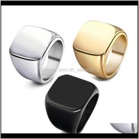 Rings Drop Delivery 2021 Vintage Stainless Steel For Men Geometric Square Glossy Plated Gold Black Band Ring Fashion Jewelry Aessories Wholes